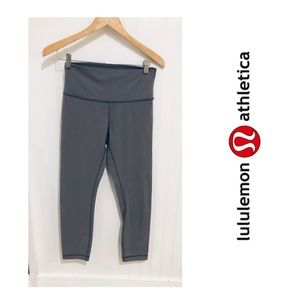 Lululemon slate grey wunder under crop Pants 6